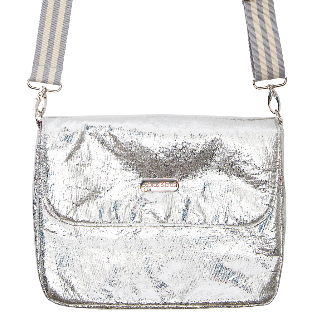 flap&bag stripe glitter M silber